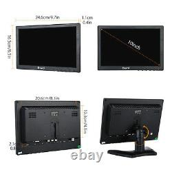 10 Inch Color IPS Monitor AV/VGA/TV/HDMI For Security CCTV Windows PC Camera