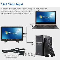 1024600 Mini 10 inch LCD Monitor HD Screen Display AV/RCA VGA BNC HDMI Input