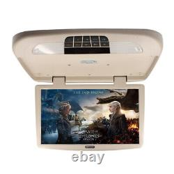 18.5in Car Monitor Display With LED Light TFT LCD Car Roof Mount Flip Down Beige