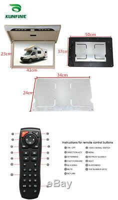 19Car Roof Monitor LCD Flip Down Screen Overhead Video Display With IR/FM USB