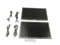 2X DELL E2014Hc E2014Hf 20 Widescreen LCD Monitor Displays Dual LCDs + Cables
