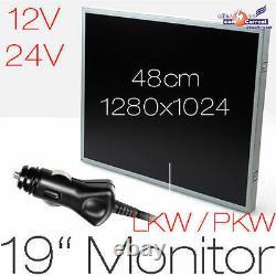 48 cm 19 MONITOR VERSION FÜR LKW PKW DISPLAY LCD 1280x1024 VGA 12V + 24 V POWER