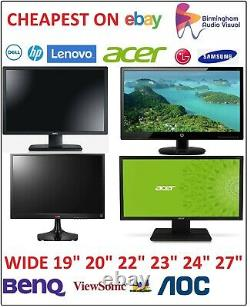 Cheap 19 20 22 23 24 TFT PC Computer Monitor VGA DVI Flat Screen Dell HP