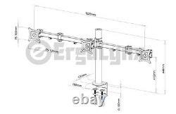 Ergolynx Triple VESA Monitor Arm Stand Desk Mount LCD LED Display 3 24 Screens