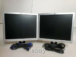 Lot of 2 Dual Screens HP L1710 17 LCD Computer Display Monitors VGA Nice