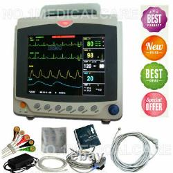 NEW Patient Monitor ICU Vital Signs ECG, NIBP, SPO2, RESP, TEMP, PR 8LCD Display